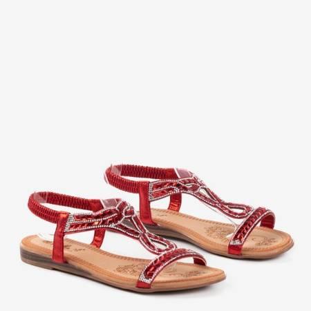 Czerwone sandały damskie z kryształkami Jesuila - Obuwie