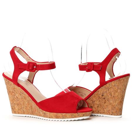Czerwone sandały na koturnie Ruby - Obuwie