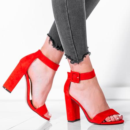 Czerwone sandały na wysokim słupku Rosalina - Obuwie