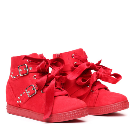 Czerwone sneakersy na koturnie z ćwiekami Savannah - Obuwie
