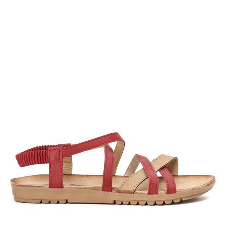 Czerwono-beżowe sandały z gumką Rabiya - Obuwie