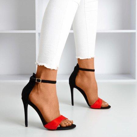 Czerwono - czarne sandały damskie na wysokiej szpilce Gold Rush - Obuwie
