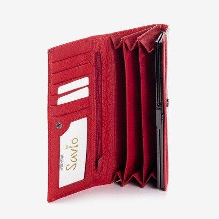 Czerwony skórzany portfel damski z tłoczeniem - Portfel