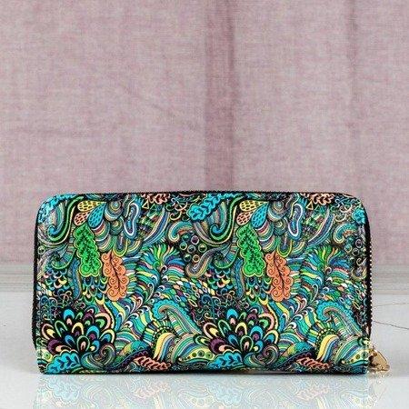 Duży wzorzysty portfel w kolorze zielonym - Portfel