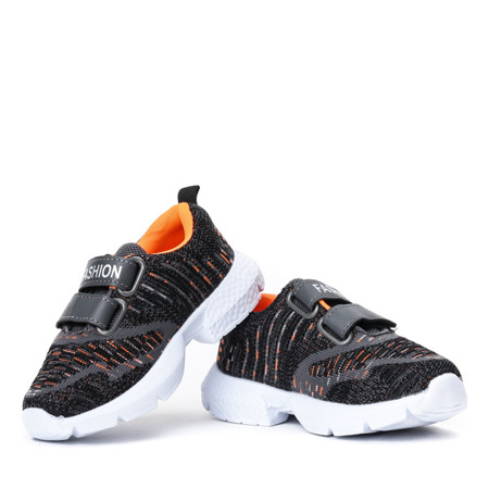 Dziecięce czarno-pomarańczowe sportowe buty Agota - Obuwie