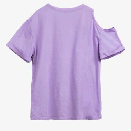 Fioletowy t-shirt damski Myszka Minnie - Odzież