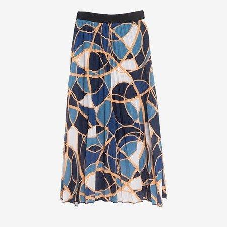 Granatowa plisowana spódnica z geometrycznym printem - Odzież