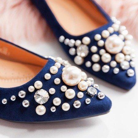 Granatowe balerinki z perełkami oraz cyrkoniami Eithne - Obuwie