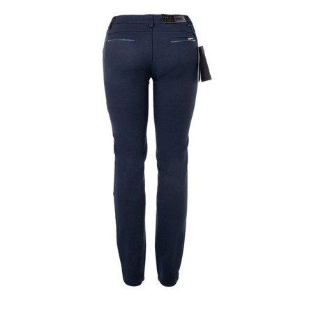 Granatowe damskie tkaninowe spodnie - Spodnie
