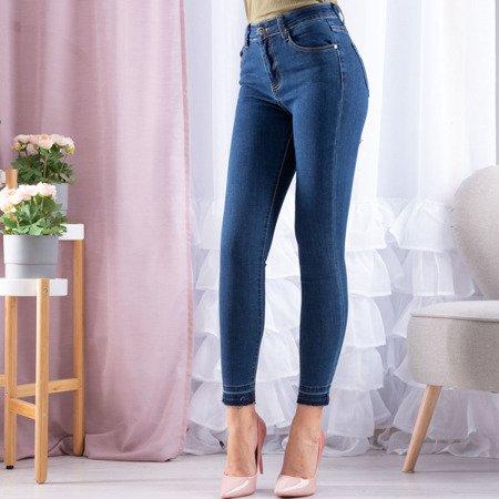 Granatowe jeansy z wysokim stanem - Spodnie