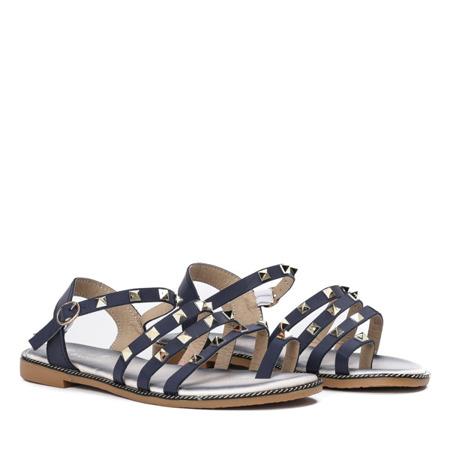 Granatowe sandały ze złotymi ćwiekami Sokoto - Obuwie