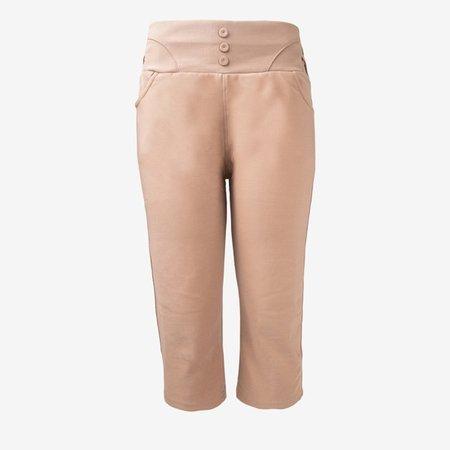 Jasnobrązowe legginsy krótkie z guzikami - Odzież