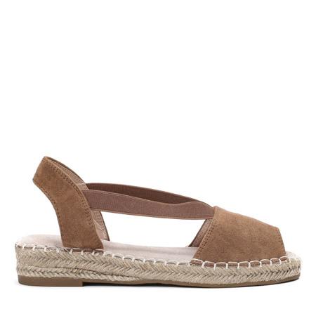 Jasnobrązowe sandały a'la espadryle na platformie Motilla - Obuwie