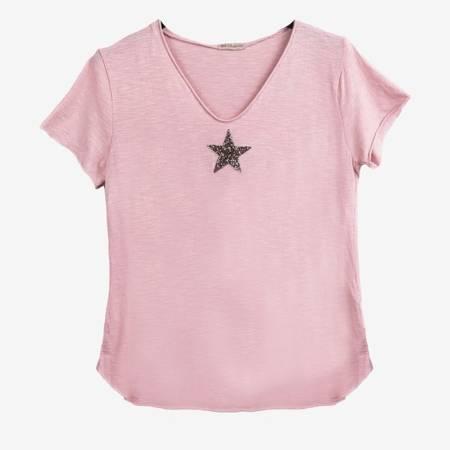 Jasnoróżowy t-shirt damski z ozdobną gwiazdką - Bluzki