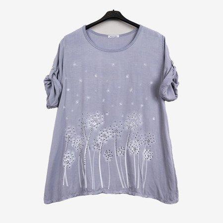 Jasnoszara tunika damska z printem w kwiatki - Odzież