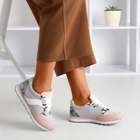 Jasnoszare damskie buty sportowe ze wstawką a'la skóra węża Kamalija - Obuwie