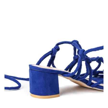 Kobaltowe sandały na niskim słupku Cherise -  Obuwie