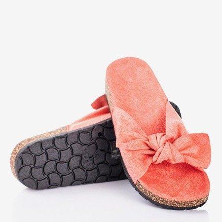 Koralowe klapki damskie z kokardką Sun and Fun - Obuwie