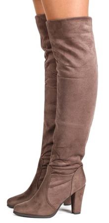 Kozaki na słupku w kolorze khaki Colenia - Obuwie