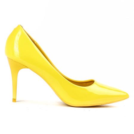 Lakierowane czółenka w kolorze żółtym - Obuwie