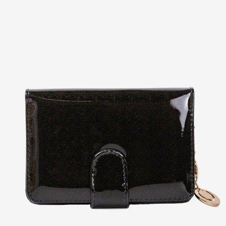 Lakierowany mały portfel damski w kolorze czarnym - Portfel
