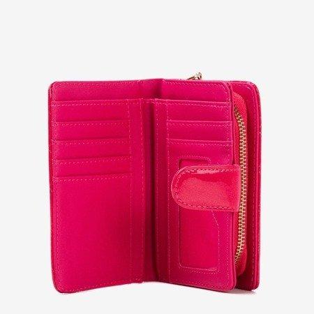 Lakierowany mały portfel damski w kolorze fuksjowym - Portfel