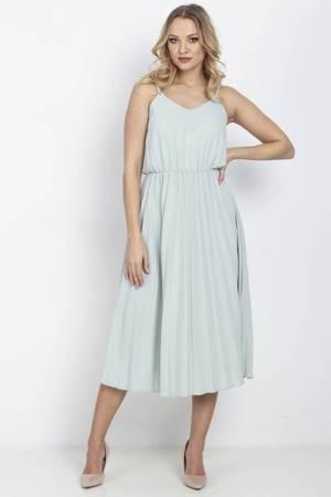 Miętowa sukienka z plisowanym dołem - Odzież