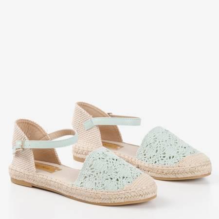 Miętowe sandały typu espadryle z ażurową cholewką Asia - Obuwie