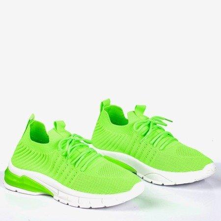 Neonowe zielone sportowe buty damskie Brighton - Obuwie