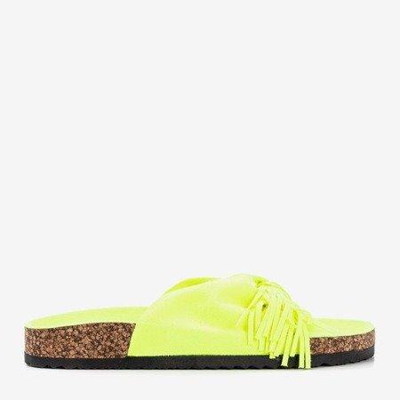Neonowe żółte damskie klapki z frędzelkami Amassa - Obuwie