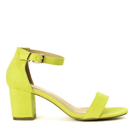 Neonowe żółte sandały na niskim słupku Lisha - Obuwie