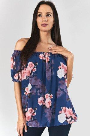 Niebieska bluzka hiszpanka w kwiaty - Odzież