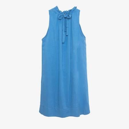 Niebieska damska sukienka z falbaną - Odzież