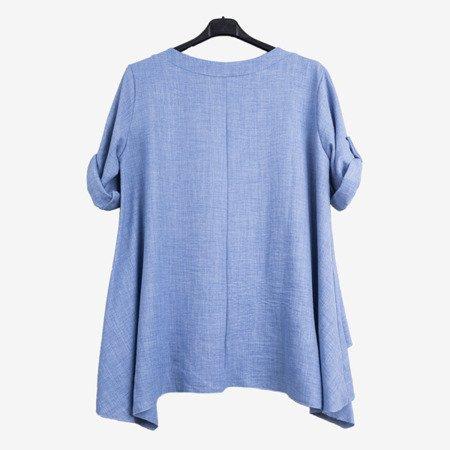 Niebieska damska tunika z napisami - Odzież