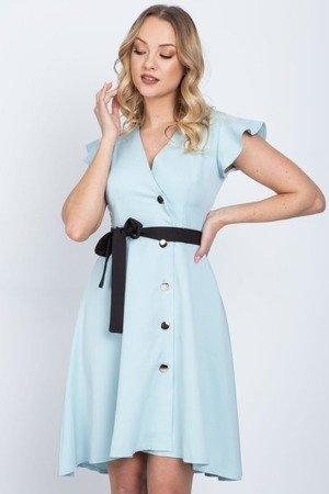 Niebieska sukienka zapinana na guziki - Odzież