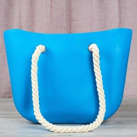 Niebieska torba gumowa z uchwytami - Torebki