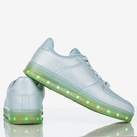 Niebieskie buty sportowe damskie świecące Led Sneakers - Obuwie