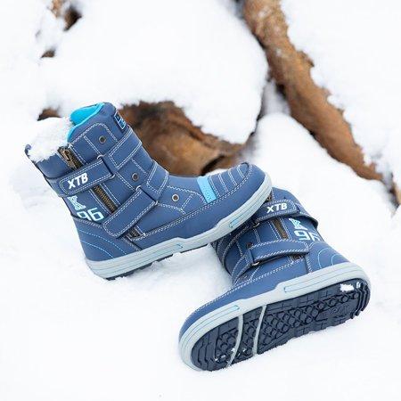 Niebieskie chłopięce śniegowce z ozdobami Kaiser - Obuwie