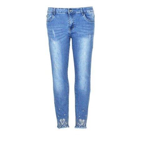Niebieskie jeansy ze średnią posadą - Spodnie