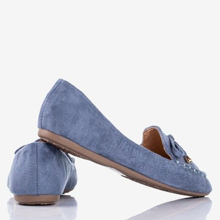 Niebieskie mokasyny z kokardką Petronella - Obuwie
