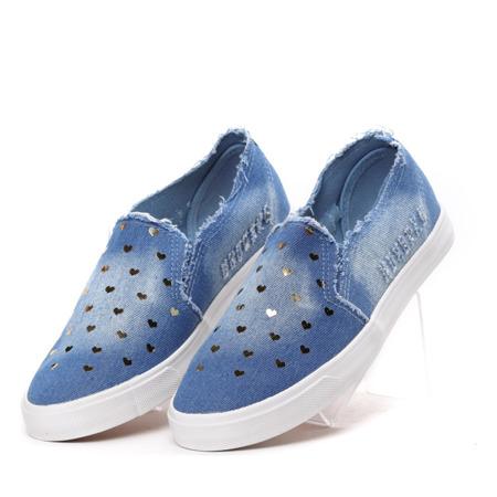 Niebieskie slip on jeansowe Yasminka- Obuwie