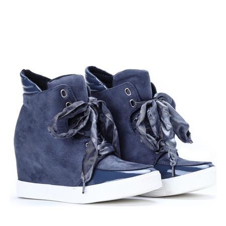 Niebieskie sneakersy na krytym koturnie Serenity - Obuwie
