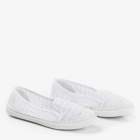 OUTLET Białe damskie ażurowe slip - on Hessani - Obuwie