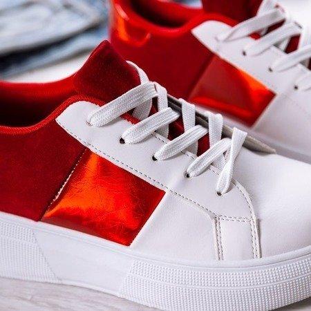 OUTLET Biało-czerwone obuwie sportowe na platformie Des - Obuwie