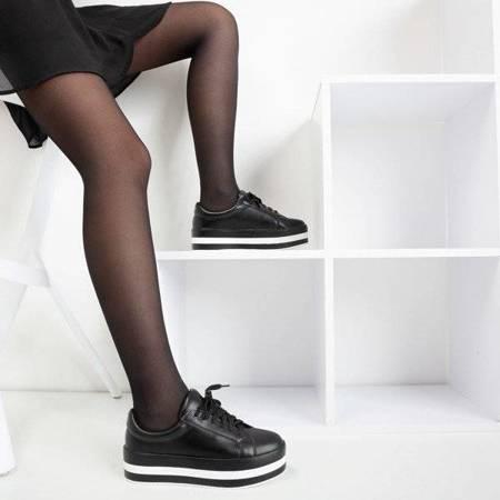 OUTLET Czarne damskie tenisówki na platformie Ridicca - Obuwie