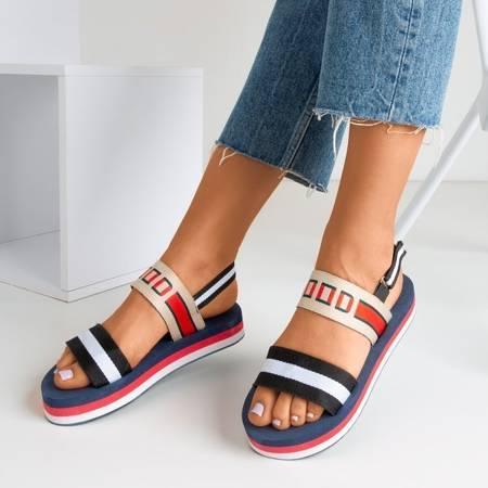 OUTLET Czarne sandały na platformie Calybe - Obuwie