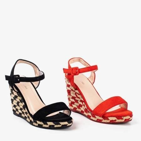 OUTLET Czerwone sandały na koturnie Porcissa - Obuwie