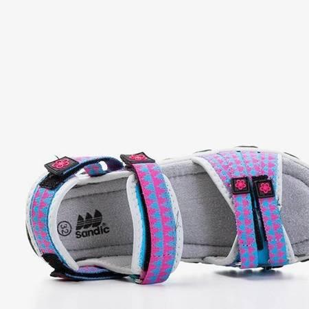 OUTLET Niebieskie dziecięce sandały z różowymi wstawkami Yoci - Obuwie