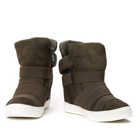 Oliwkowe sneakersy z ozdobnymi paskami - Obuwie