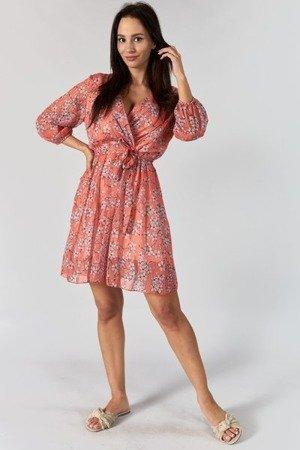 Pomarańczowa mini sukienka w kwiaty - Odzież